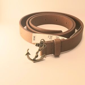 J Crew brown leather belt anchor buckle